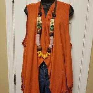 Orange suede vest